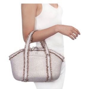 New Eric Javits Covet Woven Bag ice silver